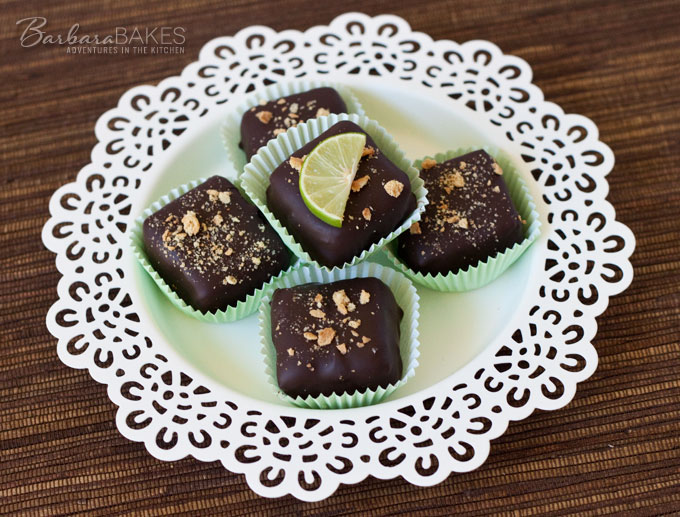 Chocolate Covered Key Lime Cheesecake Bites recipe from Barbara Bakes