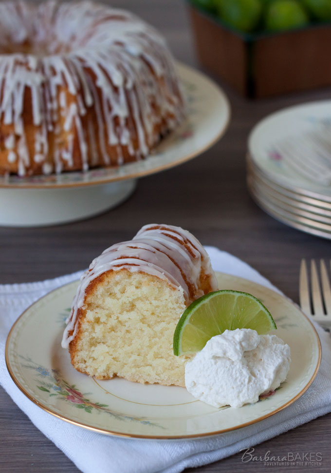 Key Lime Pound Cake recipe from Barbara Bakes. The cake has a mild key lime flavor, but the tart glaze gives it a great burst of lime flavor.
