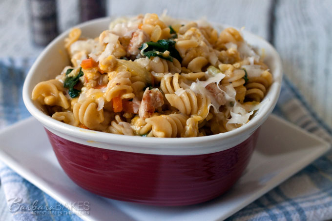 Rotini Pasta in a Creamy Butternut Squash Sauce with Chicken Sausage and Baby Spinach from Barbara Bakes