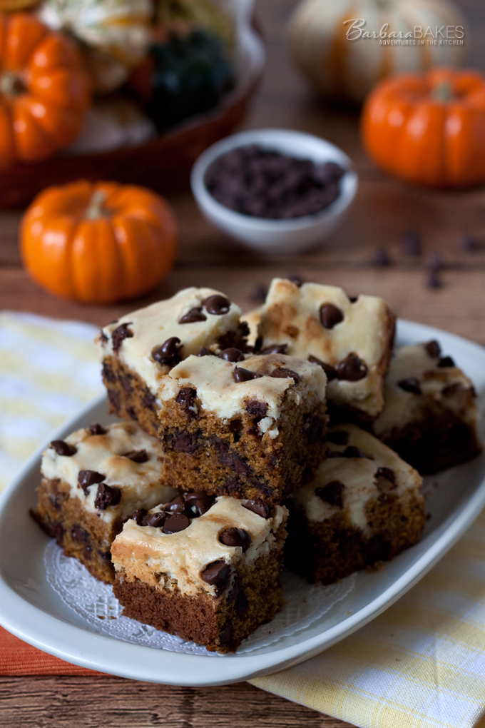 These Pumpkin Chocolate Chip Cheesecake Bars are rich and decadent. A ...