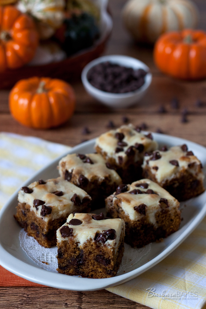 Pumpkin Chocolate Chip Cheesecake Bars - recipe from Barbara Bakes