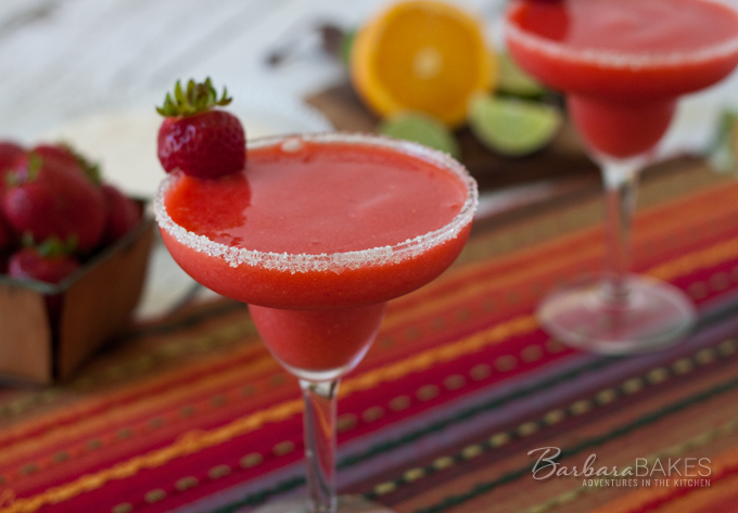 Non-alcoholic Frozen Strawberry Margarita recipe from Barbara Bakes