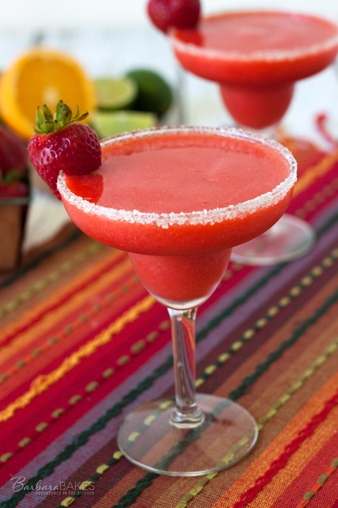 Frozen Virgin Strawberry Margarita recipe from Barbara Bakes