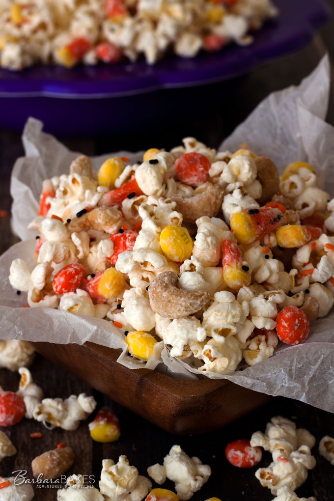 Irresistible Candy Corn Popcorn from Barbara Bakes