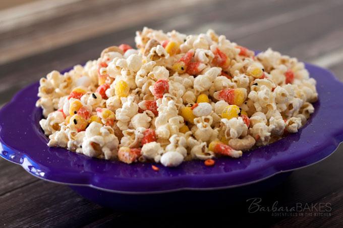 Candy Corn Popcorn Recipe from Barbara Bakes
