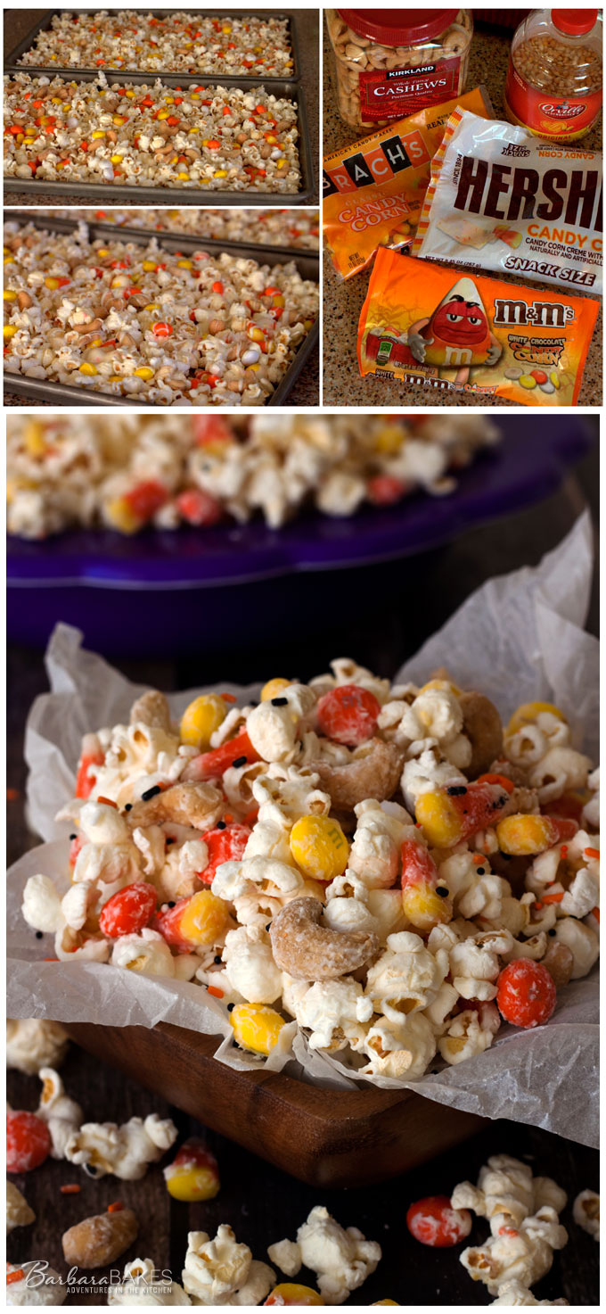 Colorful, fun, craveablydeliciousCandy Corn Popcorn from Barbara Bakes