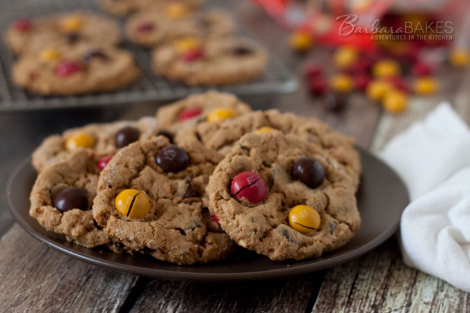 flourless peanut butter chocolate chip cookies studded with chocolate ...