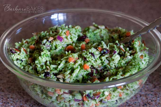 Broccoli Slaw Salad made from fresh broccoli