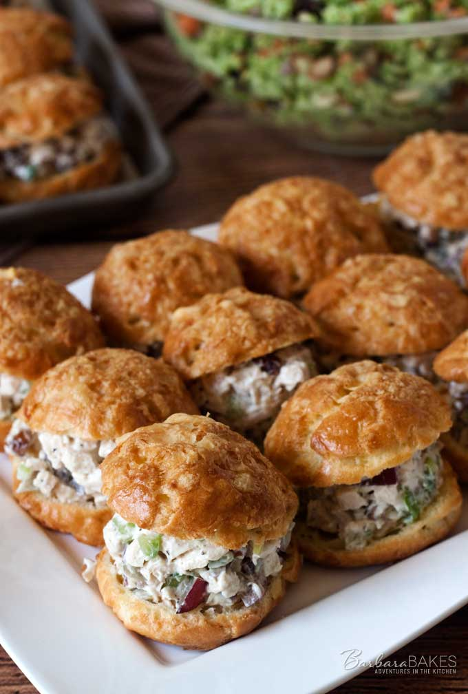 Lightened Up Chicken Salad Gougeres from Barbara Bakes