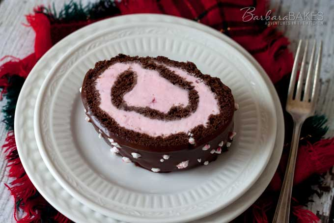 Chocolate Peppermint Ice Cream Cake Roll from Barbara Bakes