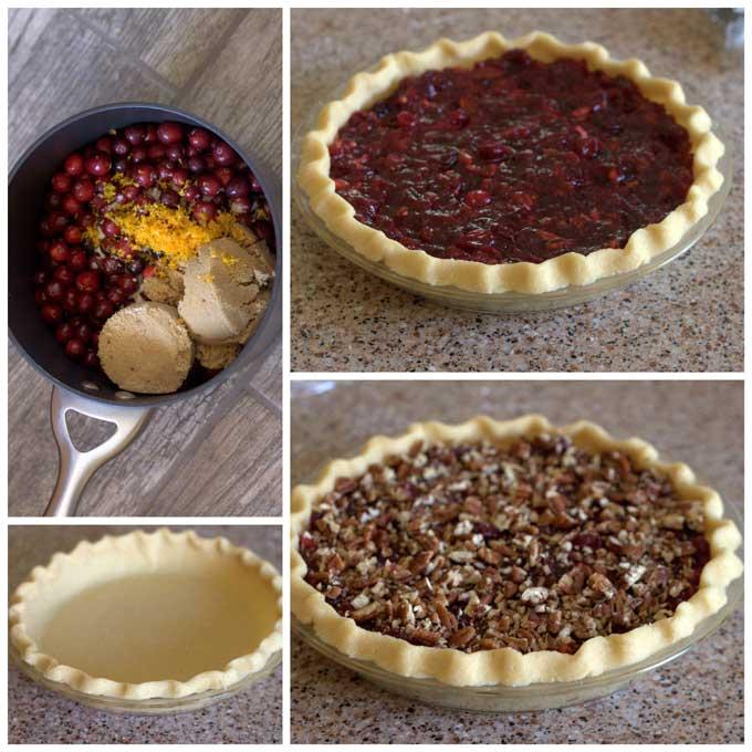 Making Cranberry Pecan Pie