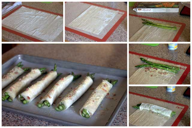 How to Make Phyllo, Parmesan, Bacon Asparagus Bundles