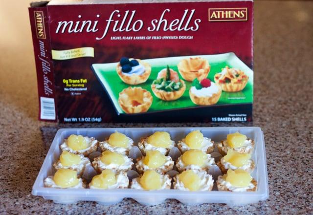 No-Bake Pina Colada Cheesecake Bites in Mini Fillo Shells