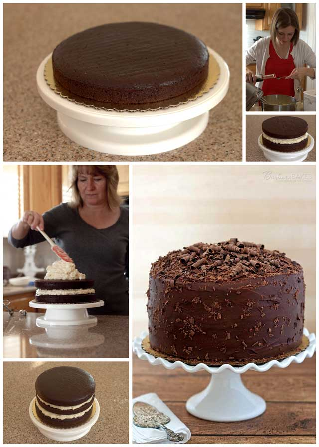 Making a Triple Layer Chocolate Cake with a Coconut Cream Cheese Filling