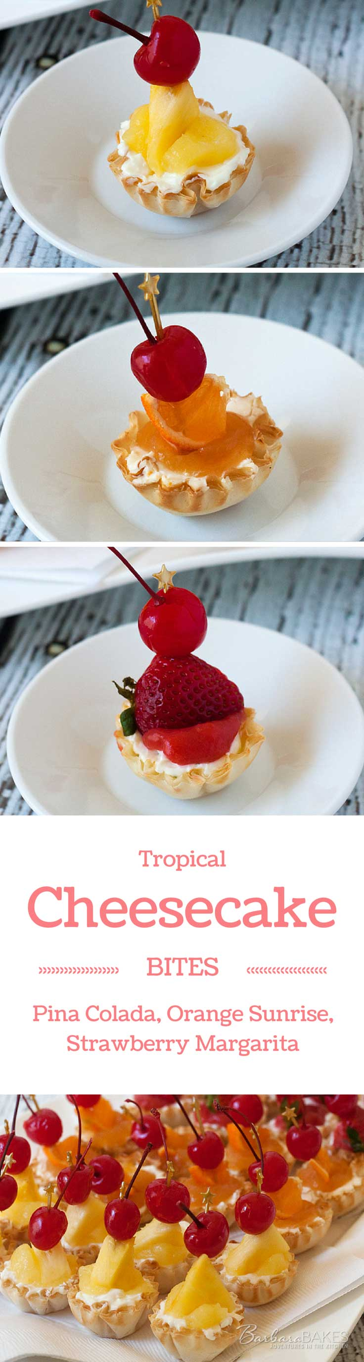 I've turned tropical drink flavors in to luscious dessert bites, and dressed them up like you would tropical drinks. My tropical cheesecake bites, Pina Colada, Strawberry Margarita, and Orange Sunrise, would be fabulous any time of year, but especially fun for a New Years Eve party.