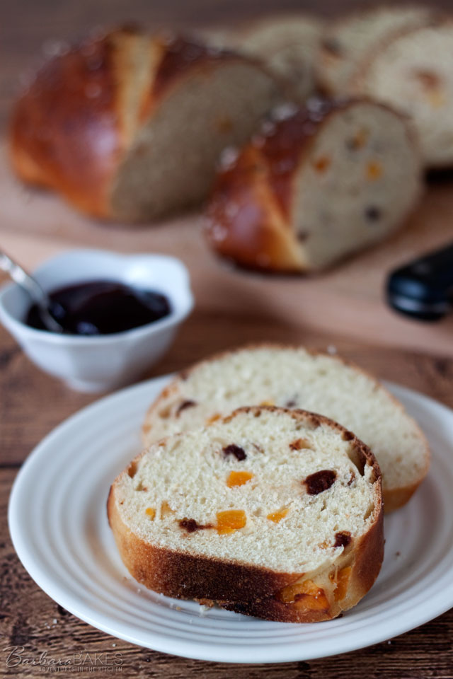 Apricot Cherry Breakfast Bread is a sweet, light, tender bread studded with dried apricots and tart cherries. Serve it for breakfast slathered with your favorite jam.