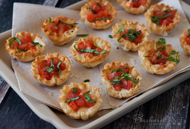 Margherita Pizza Phyllo Bites recipe from Barbara Bakes