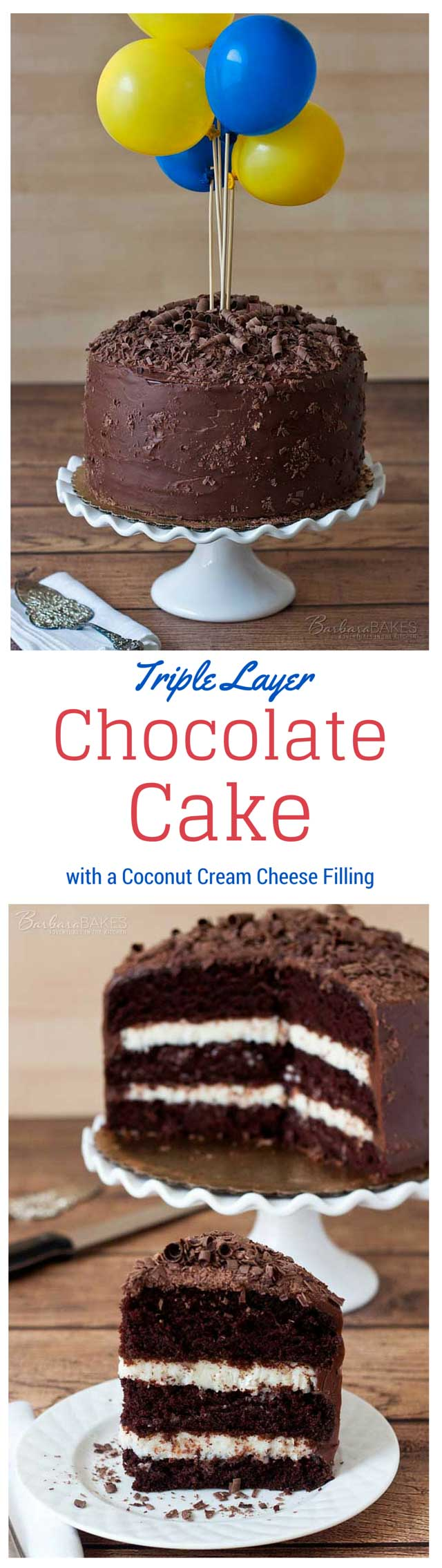 A Triple Layer Chocolate Cake With Coconut Cream Cheese Filling