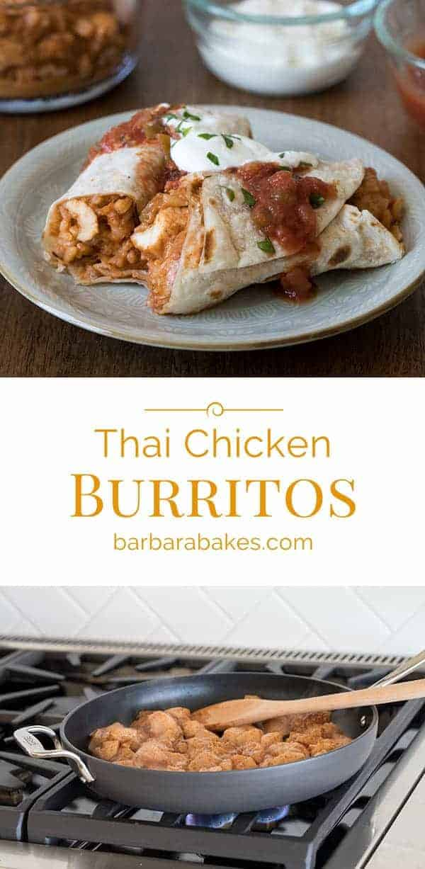 This Easy Thai Chicken Burritos recipe was a runner up in the Pillsbury Bake-off in 2007. We've been making it ever since. It's delicious, super easy, and you probably already have all the ingredients on hand right now.