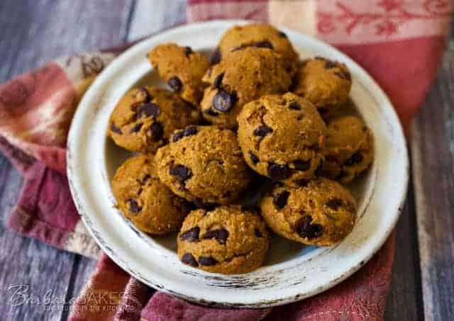 plate of easy pumpkin chocolate chip cookies