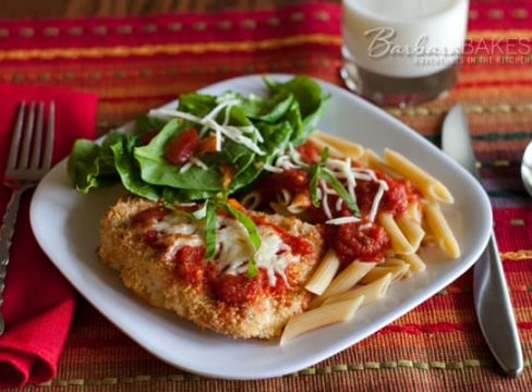 Lighter Chicken Parmesan– from the Best Light Recipe cookbook by Cook's Illustrated, a fabulous Chicken Parmesan recipe. It's crispy, cheasy, healthy and delicious.