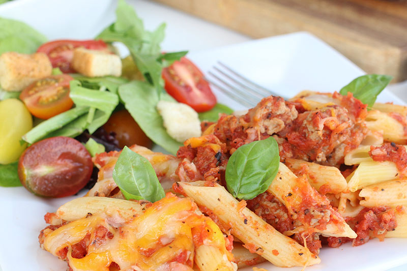 Baked Penne Pasta with salad