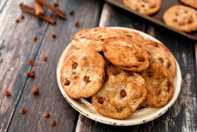 Take Snickerdoodles to a whole new level with the addition of Cinnamon Chips to the batter. Underbake the cookies slightly so they're crisp on the outside, but tender on the inside.