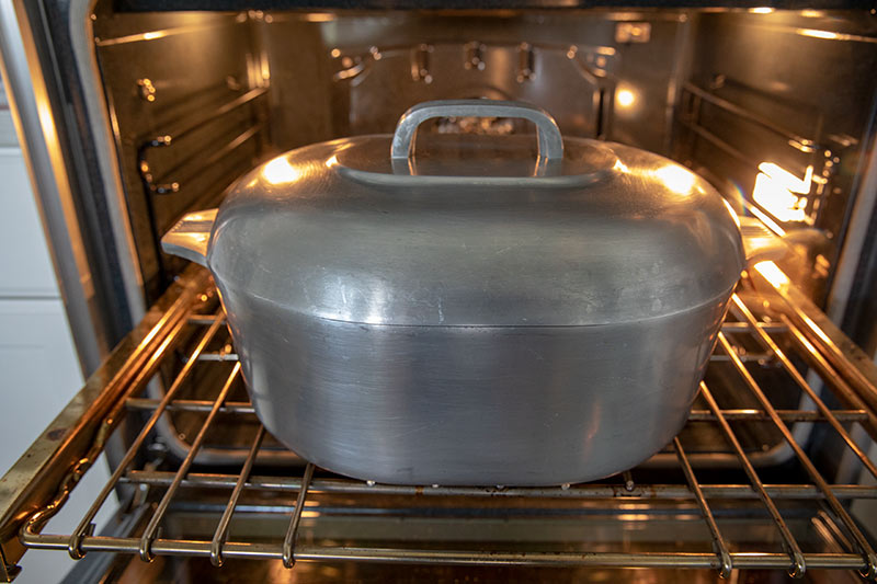 Dutch Oven with Lid in Oven