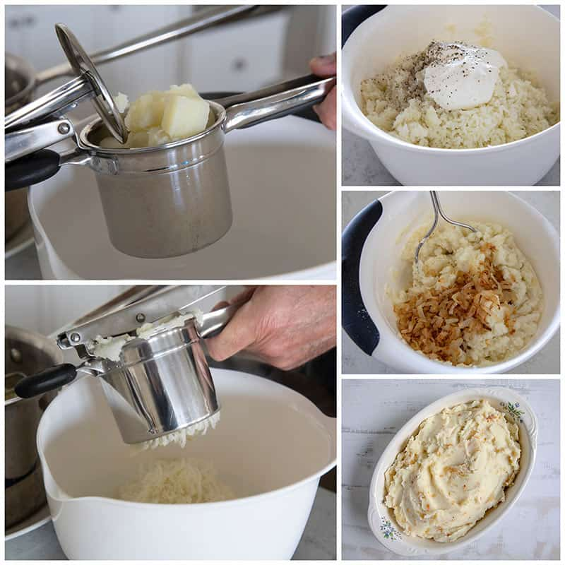 Mashing potatoes step by step photos for Caramelized Onion Mashed Potatoes