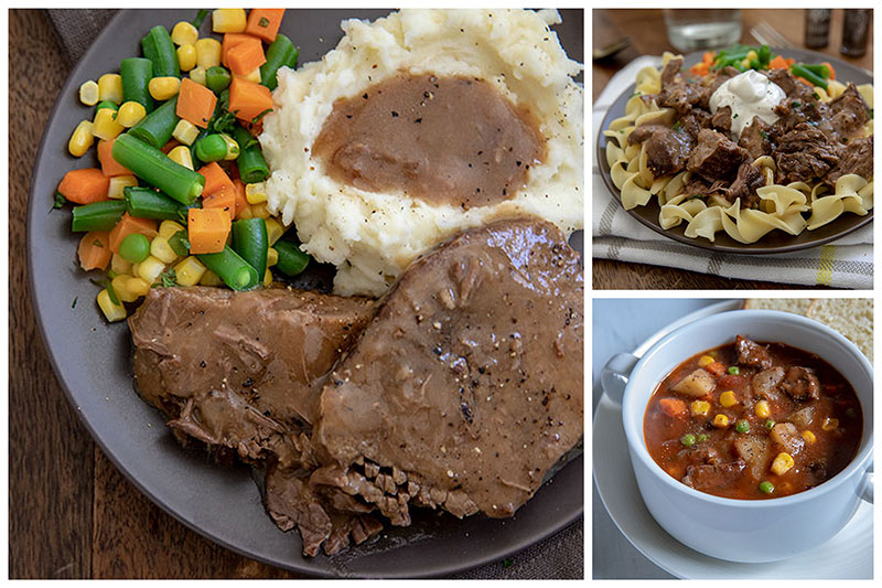 Three easy round steak meals, round steak and gravy, beef and noodles, and beef stew