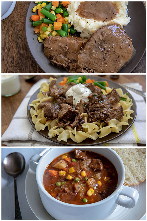 Round steak and gravy, round steak and noodles and round steak beef stew