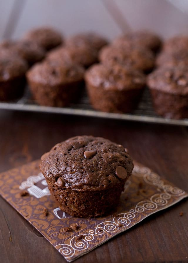 Chocolate Zucchini Muffins made with whole wheat pastry flour and agave instead of sugar.