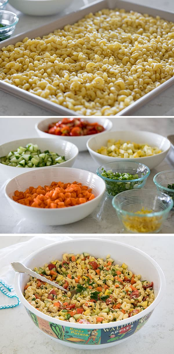 Preparing ingredients for Perfect Pasta Salad