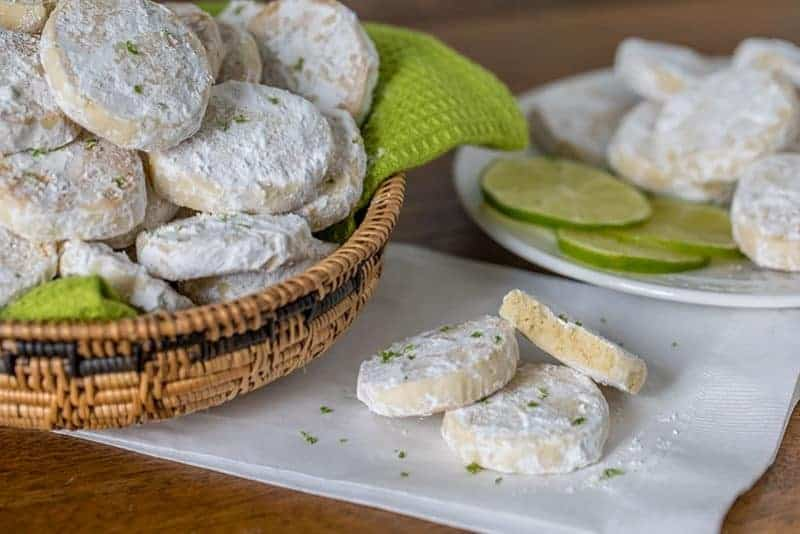 A meltaway is a crumbly cookie that melts in your mouth. TheseLime Meltaways are a not-too-sweet cookie with a tart lime flavor dusted with powdered sugar.
