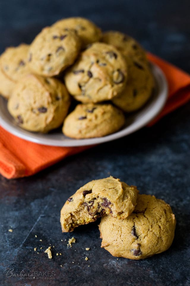 Classic Pumpkin Chocolate Chip Cookies, a cakey pumpkin cookie with warm fall spices and loaded with semi-sweet chocolate chips.