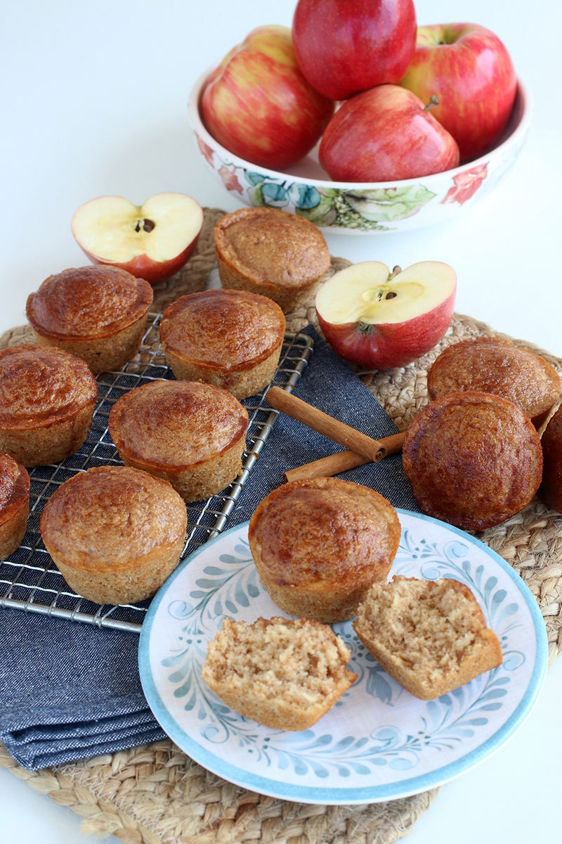 Apple Cinnamon Sugar Donut Muffins on a plate