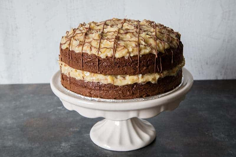 These Easy German Chocolate Cake can be dressed up as a layer cake that's perfect for a party