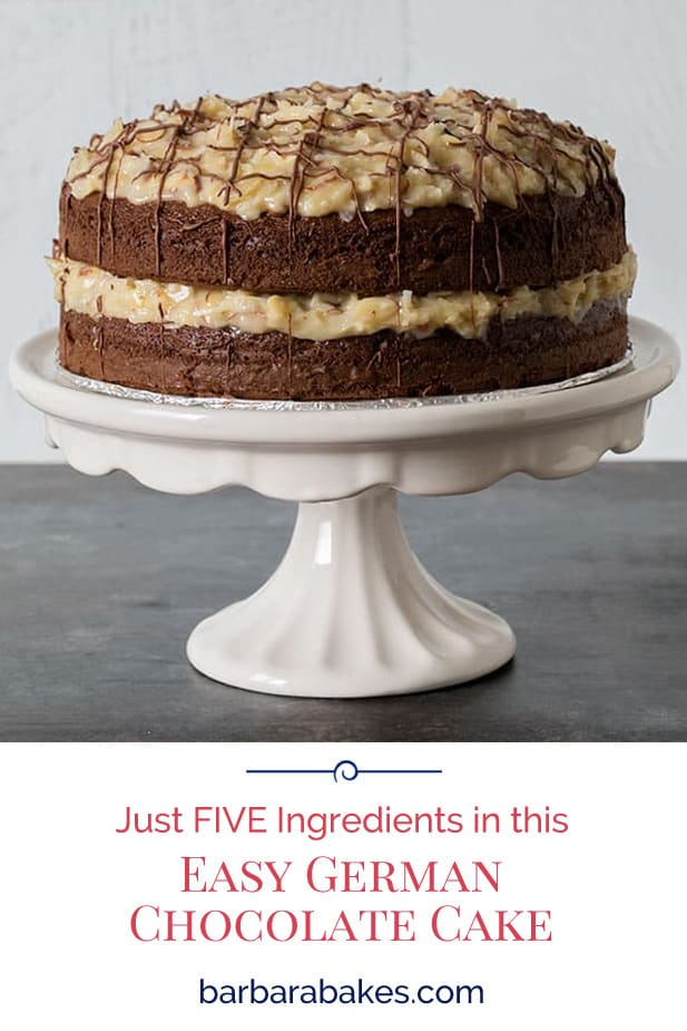 This German Chocolate Cake is SO EASY—just five ingredients and starts with a boxed cake mix