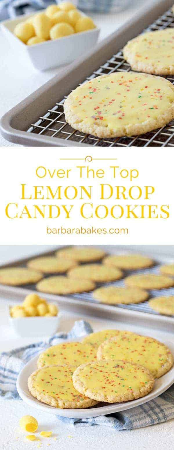 These cookies don't have a subtle lemon flavor like some lemon cookies. They are a sweet, but lemon bar tart cookie. The secret ingredient is crushed lemon drop candies.