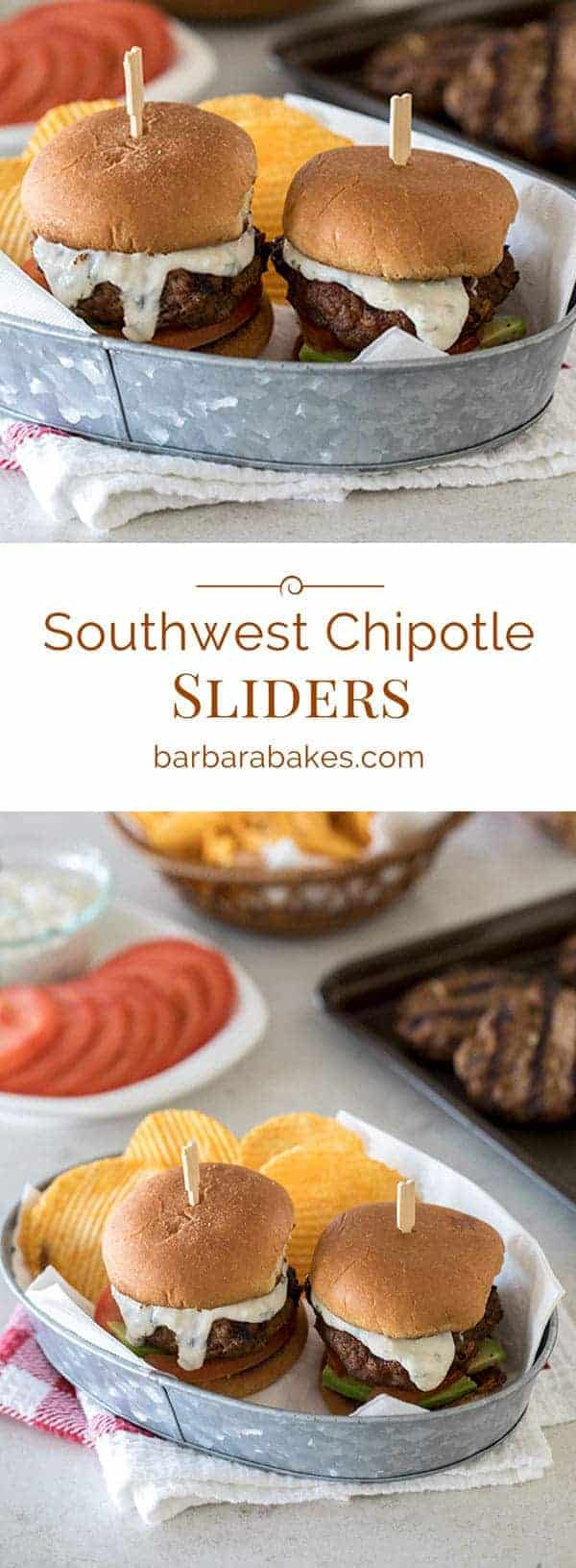 These Southwest Chipotle Burger Sliders are a perfect combo. A not too spicy, juicy little burger is topped with a creamy chili lime cilantro queso fresco sauce, avocado and tomatoes all on a toasted bun. They're perfect for the big game!