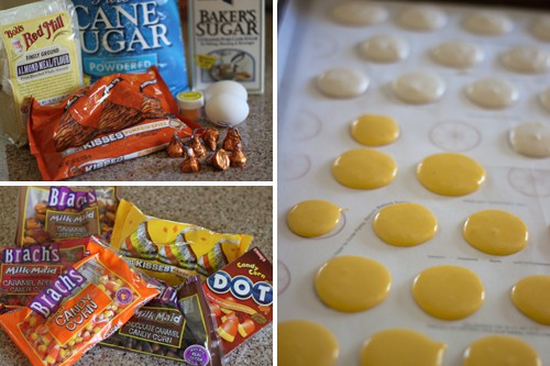 Making candy corn macarons.
