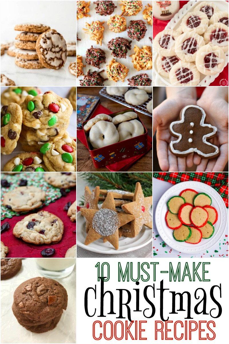 Collage of 10 Must Bake Christmas Cookies