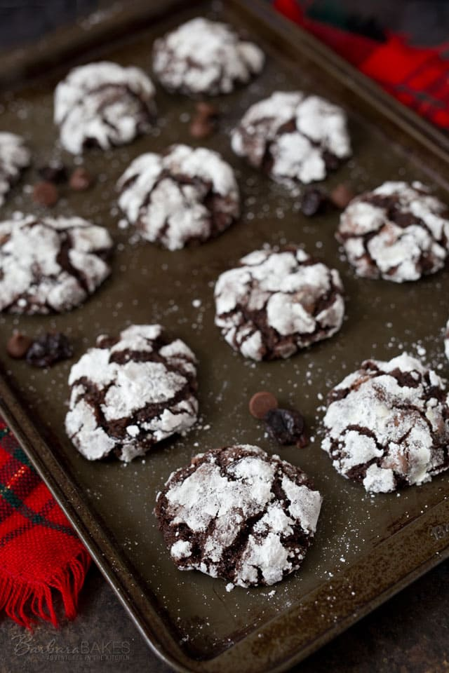 These Black Forest Crinkle Cookies are a soft, rich chocolate cookie loaded with chocolate chips and cherries but have a fun powdery white crackled outside.