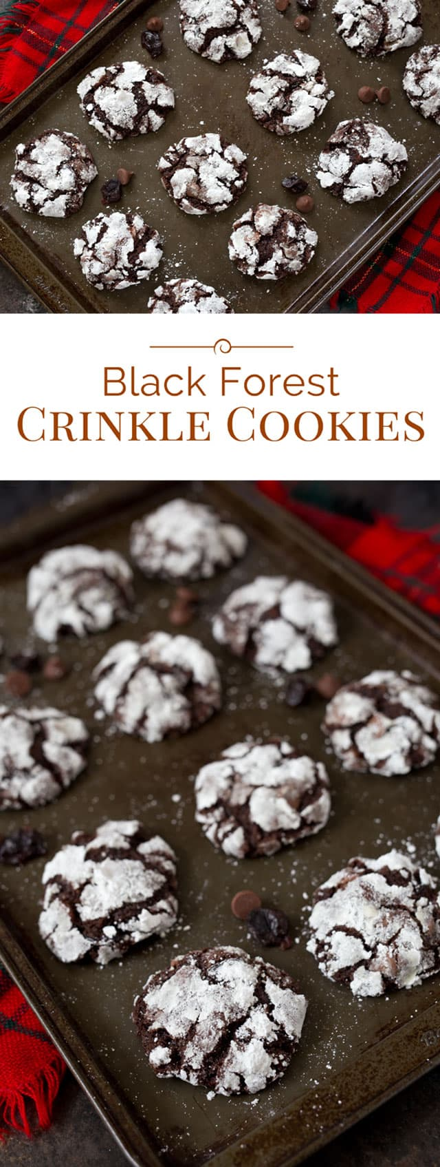 These Black Forest Crinkle Cookies are a soft, rich chocolate cookie ...