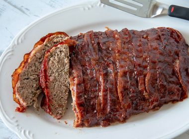 BBQ Bacon Pioneer Woman Meatloaf on a platter