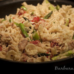 Campanelle Pasta with Chicken Confit, Asparagus, and Tomatoes