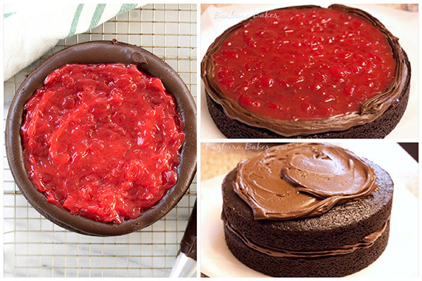 Step by step photos of two 9 inch round old-fashioned chocolate cakes filled with cherry filling and glossy chocolate icing.