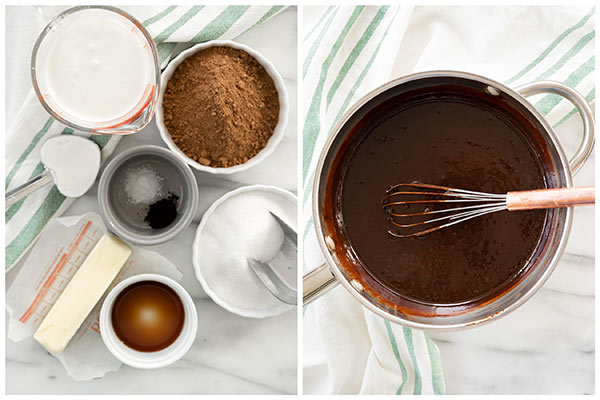 Ingredients and a large stainless steel pot with glossy chocolate icing and a whisk to be spread on to old-fashioned chocolate cake with cherry filling.