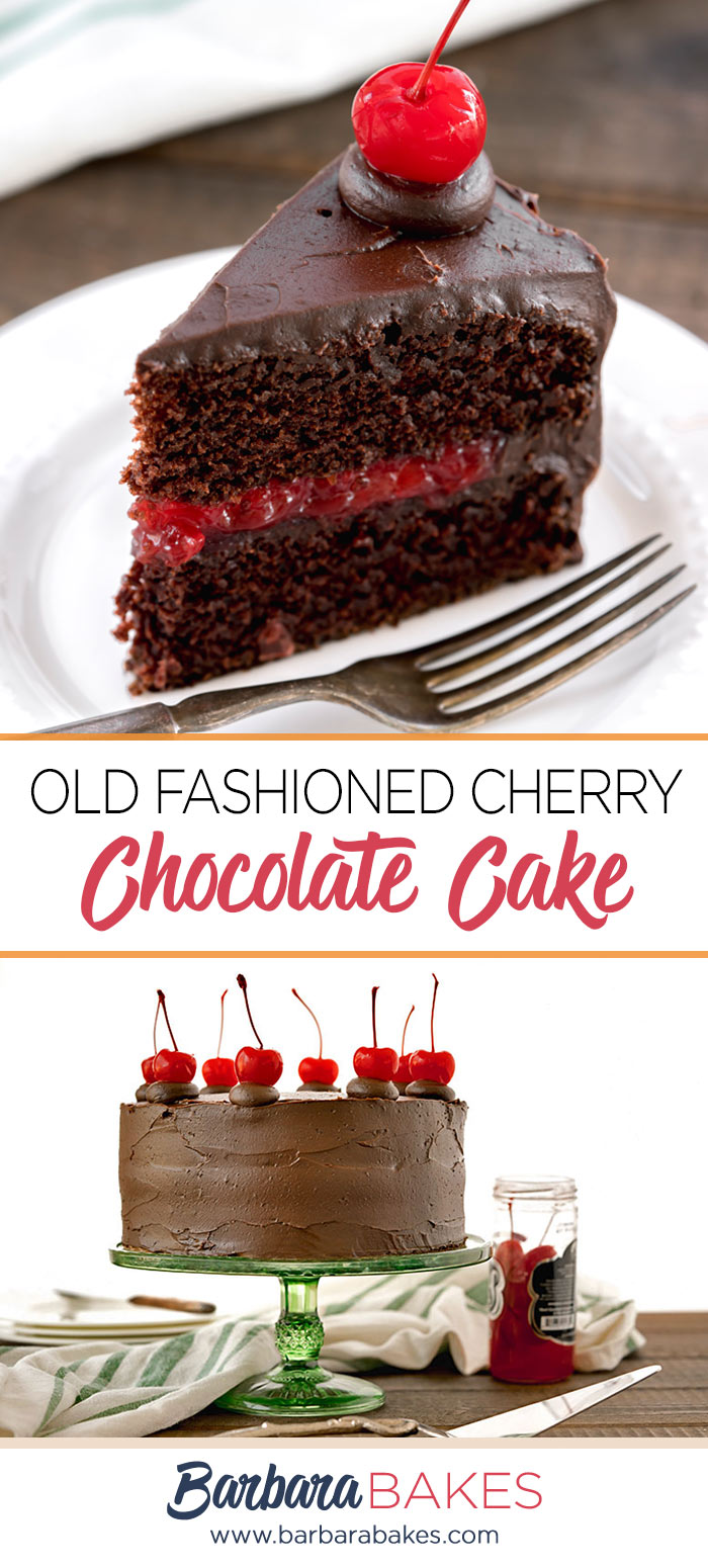 A single slice of old-fashioned chocolate cake filled with homemade cherry filling and frosted with easy chocolate icing, topped with a stemmed maraschino cherry on a white dessert plate with a silver fork.