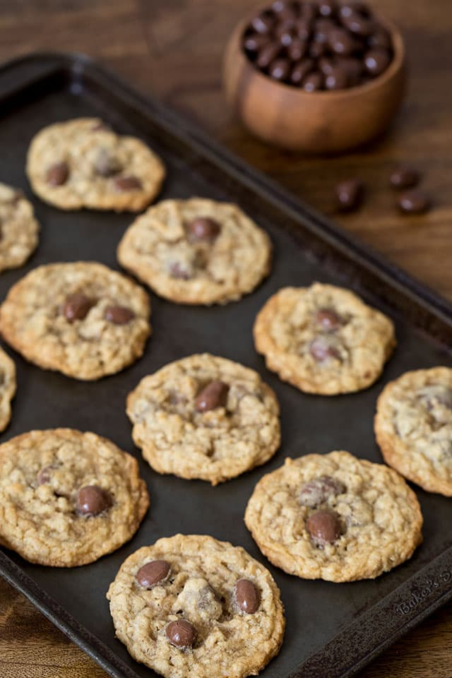 These fun Oatmeal Raisinet Cookies are a classic, chewy, buttery oatmeal cookie with a fun twist Raisinets instead of raisins or chocolate chips.